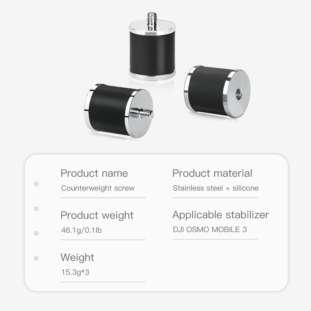 RCSTQ Handheld Gimbal Universal Counterweight Screw Stainless Steel 15.3g for DJI OSMO MOBILE 3 FPV Gimbal - Photo: 3