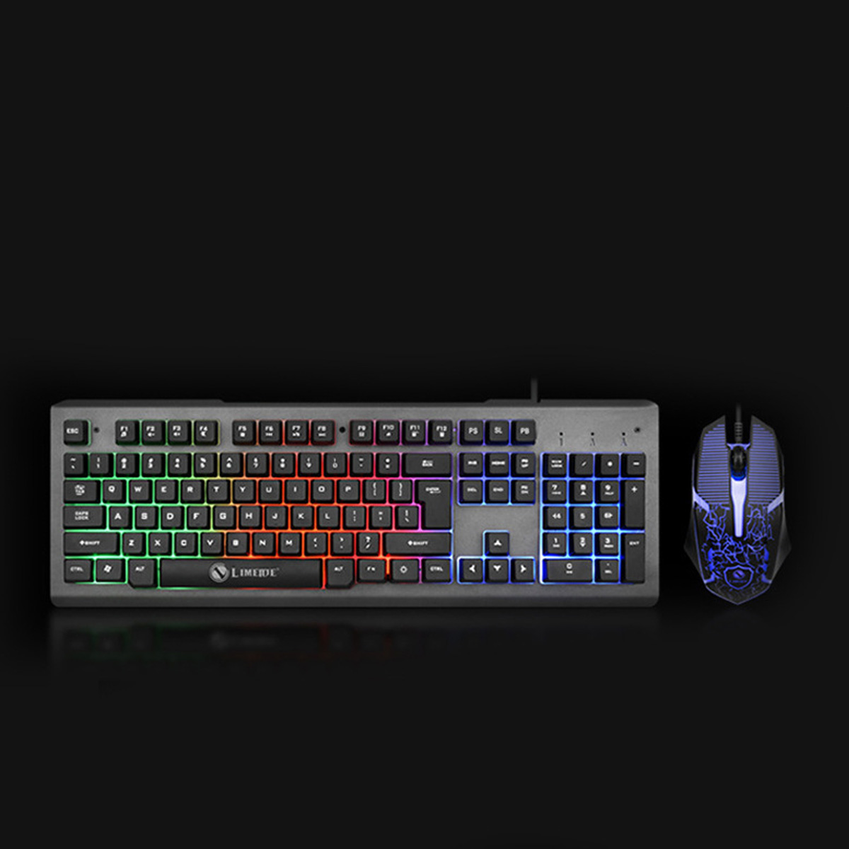 Bunte Hintergrundbeleuchtung USB Wired Gaming Keyboard 2400DPI LED Gaming Mouse Combo für PC-Spiel E-Sport