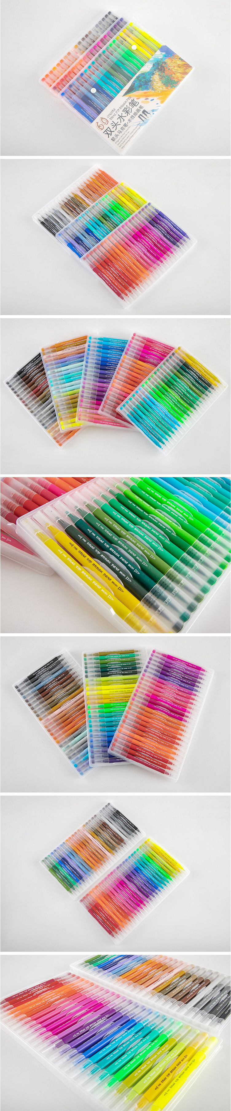 48/60/72/100 Pcs Colors FineLiner Dual Tip Brush Pens Drawing Painting Watercolor Art Marker Pen School Supplies