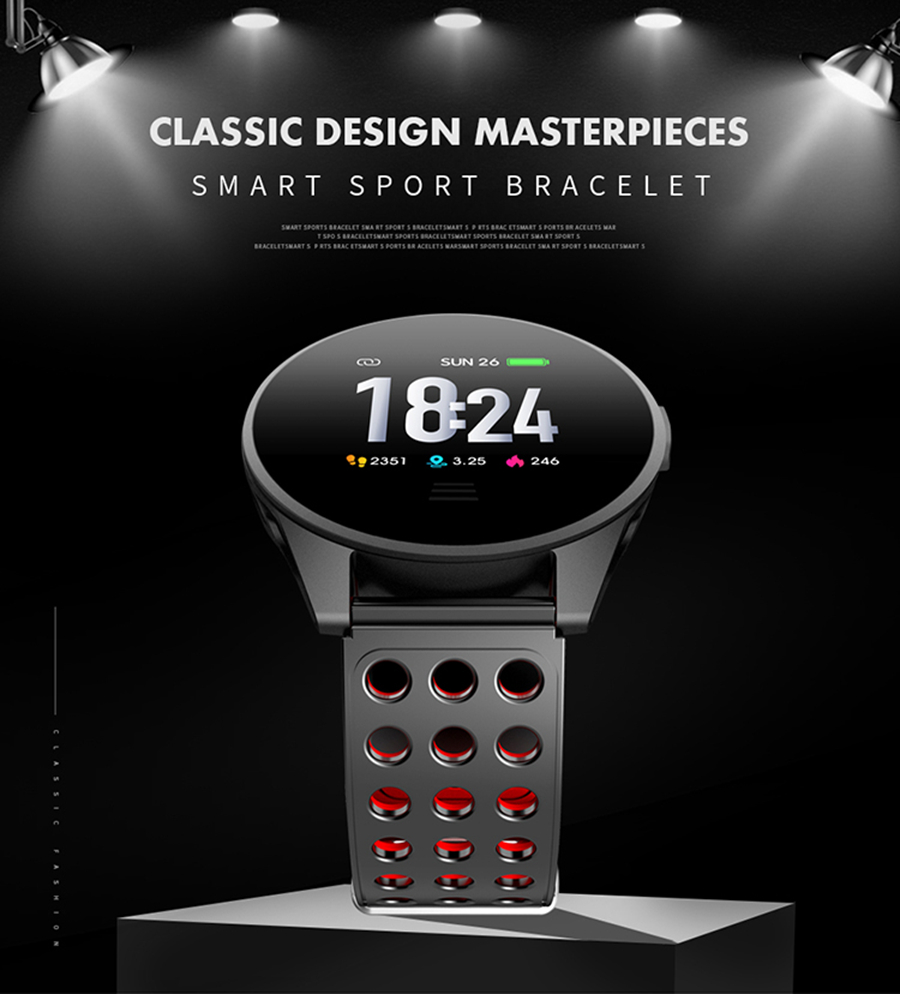 Bakeey CK20S Tempered Glass Carbon Fiber Case Breathing Light 24hour Heart Rate Long Battery Life Smart Watch