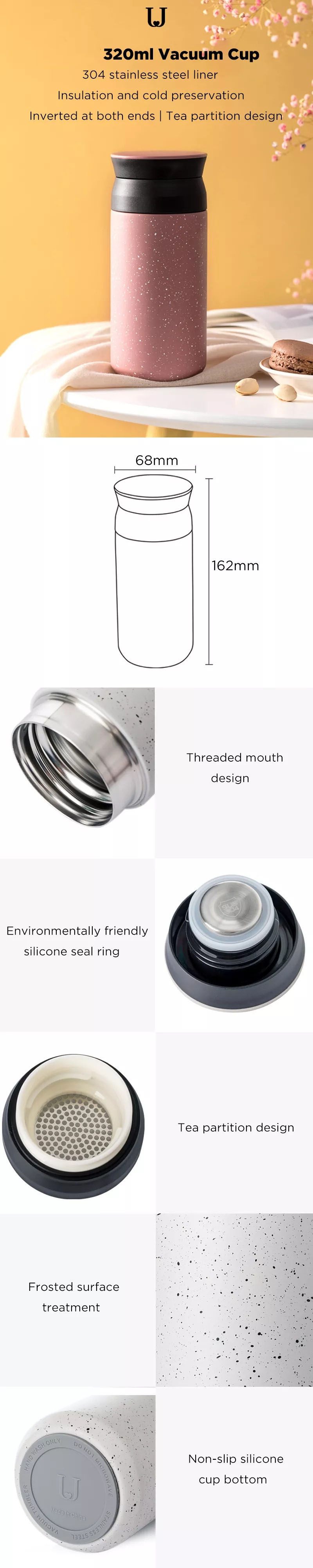 Jordan&judy 320ml Vacuum Cup 304 Stainless Steel Thermos Insulated Water Bottle Leakproof Sports Camping Travel Coffee Mug from Xiaomi Youpin