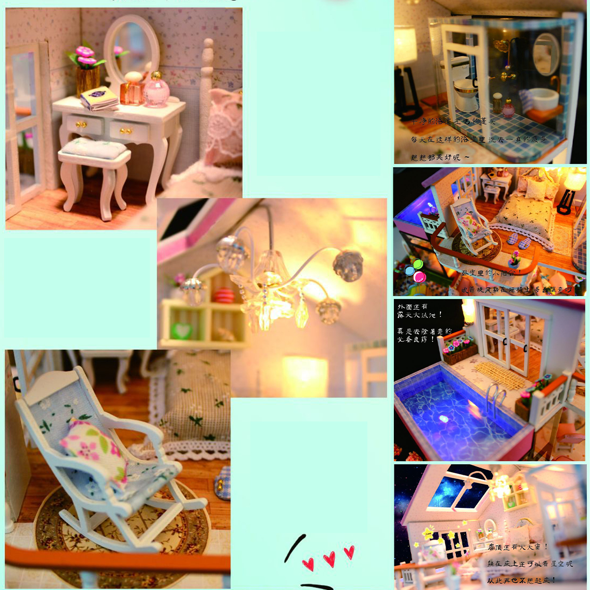 Hongda DIY Cabin Hand-assembled Doll House with LED Light Home Decor Model Toys - Photo: 8