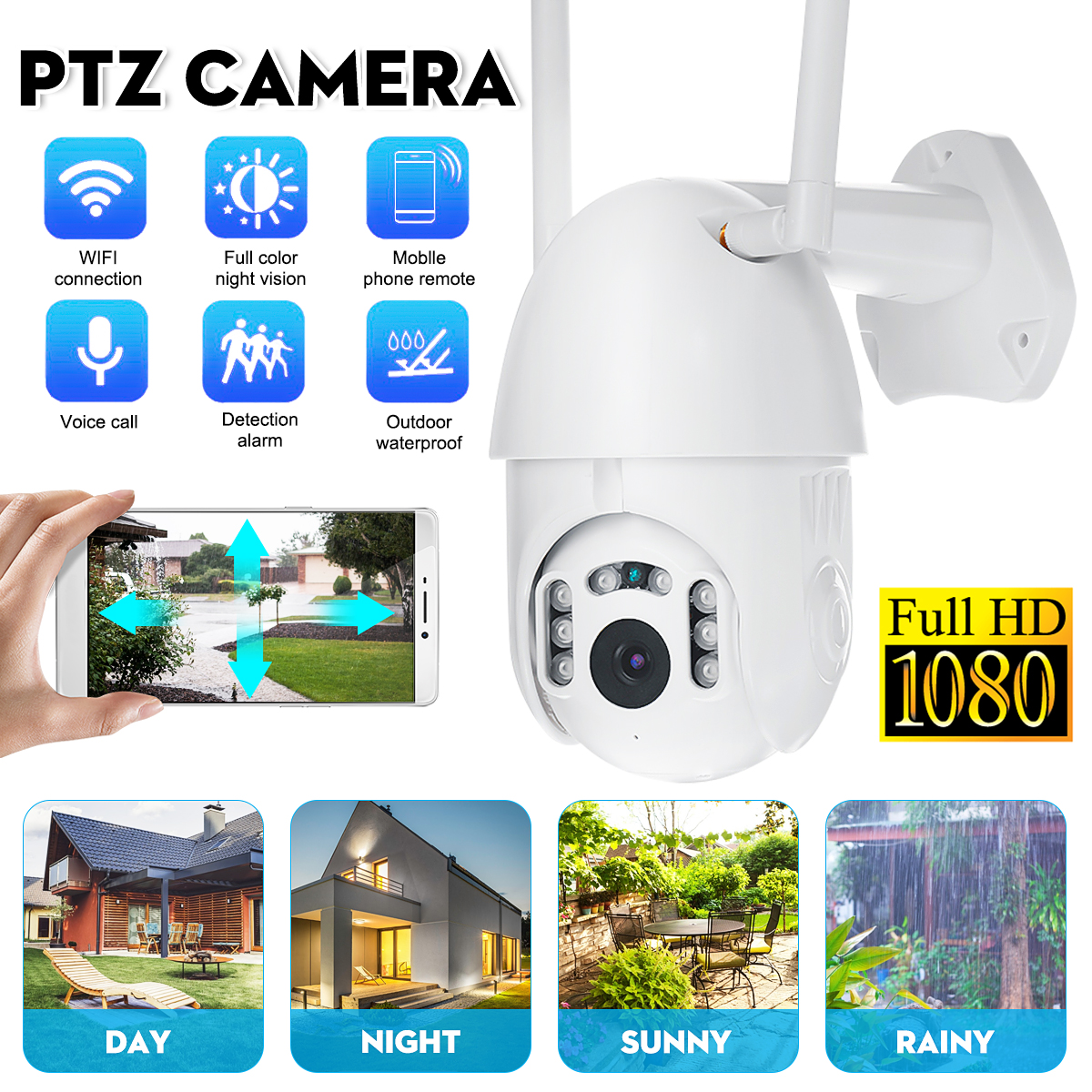 HD 1080P Wifi IP Camera Infrared Night Vision IP66 Waterproof Outdoor 355° PTZ Rotation Home Security Monitor Camera