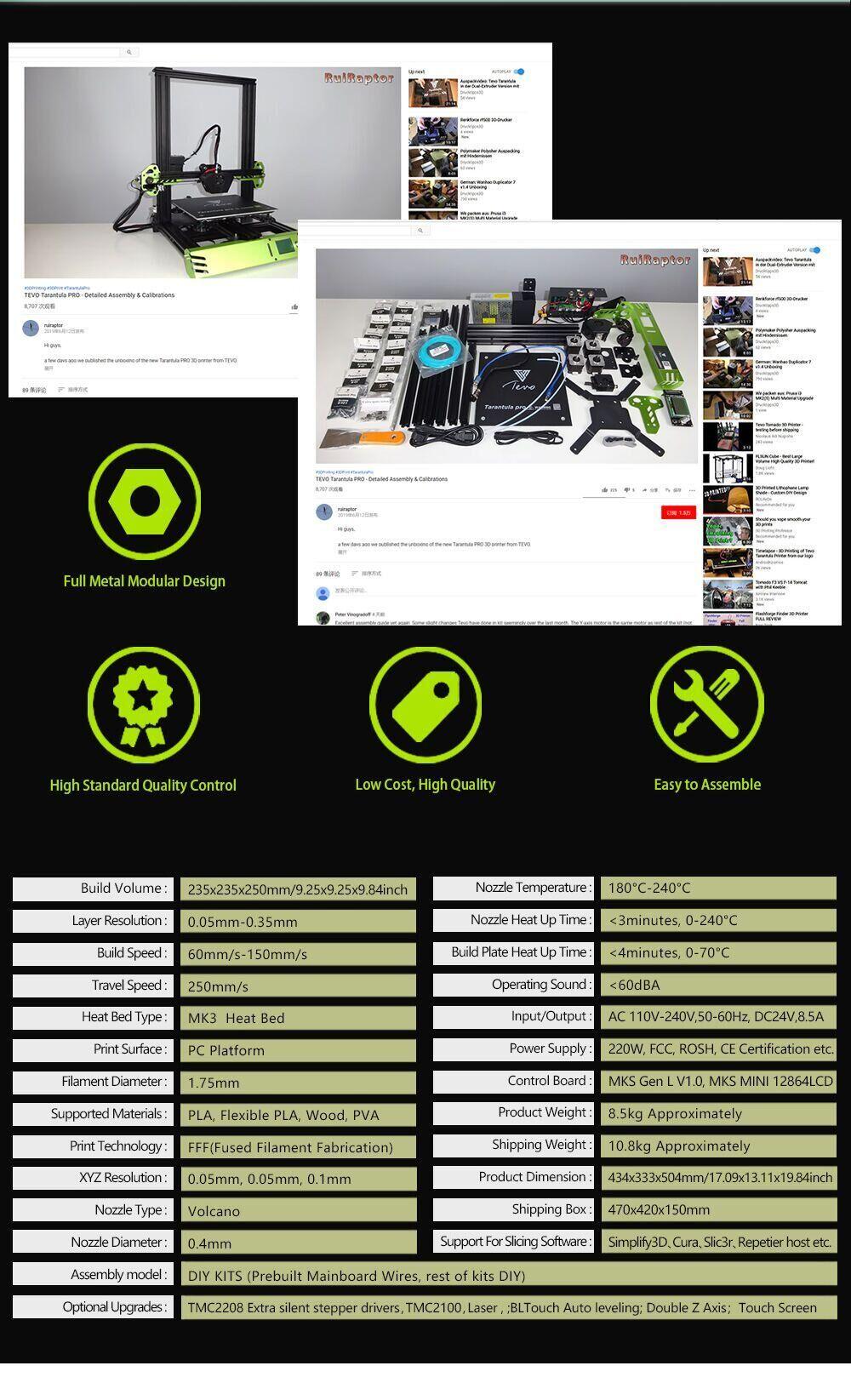 TEVO TARANTULA PRO 3D Printer Kit with 235x235x250mm Printing Size MKS GenL Mainboard 0.4mm Volcano Nozzle Supports 1.75mm Filament