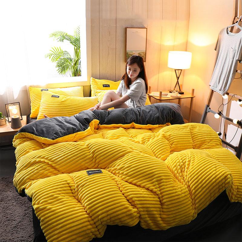 4Pcs AB Sided Thicken Corduroy Velvet Winter Bedding Sets Full Queen King Size Duvet Cover