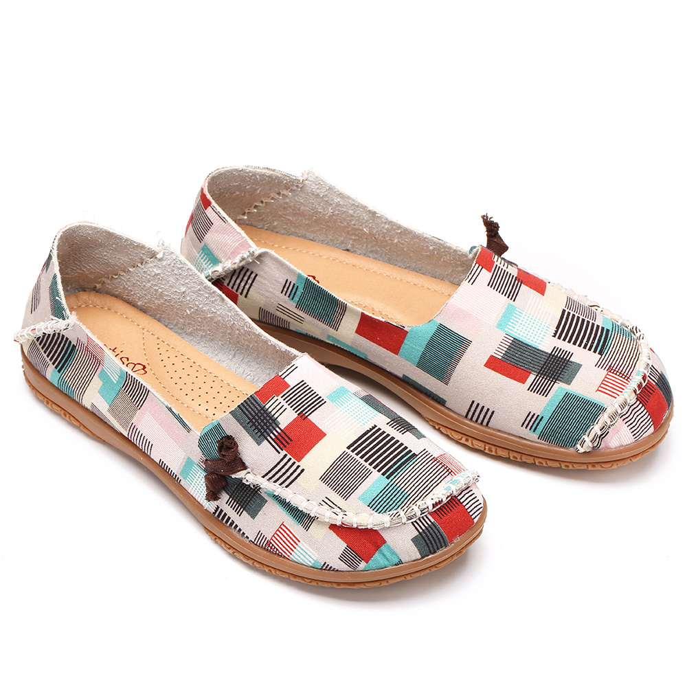 Women Colorful Pattern Exclusively Sold Slip Resistant Flats