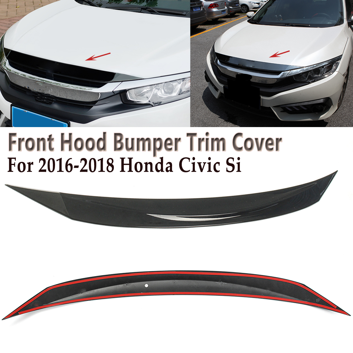 Front Hood Bumper Protector Trim Cover Fits For 2016-2018 Honda Civic All Model