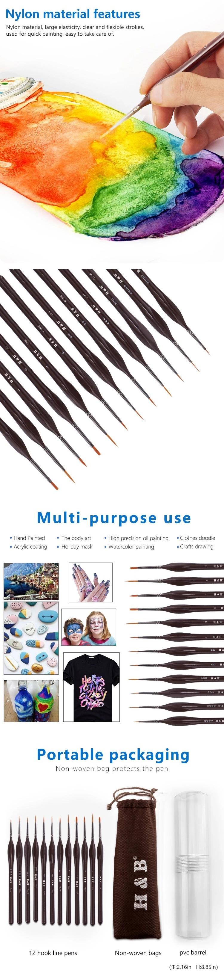 H&B 12 Pcs Hook Line Pen Set Paint Brush Miniature Detail Fineliner Nail Art Drawing Pens Brushes For Acrylic Painting Supplies