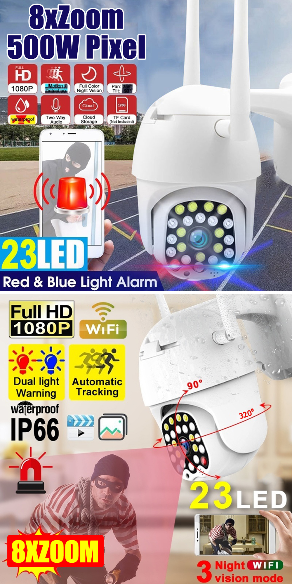 8X Zoom 23LED 5.0MP 1080P HD Wifi IP Security Camera Outdoor Light & Sound Alarm Night Vision Waterproof