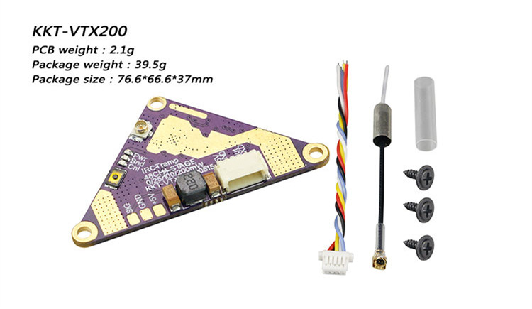 LDARC KKT-VTX200 5.8G 48CH 0/25/100/200mW Switchable FPV Transmitter for F411E12A FC RC Drone FPV Racing - Photo: 6