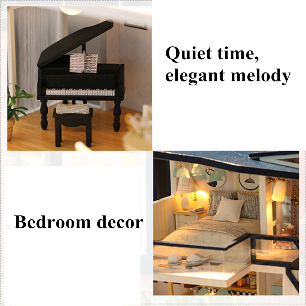 Mermaid Tribe DIY Doll House Model Toy Cabin LED Sound and Light Creative Christmas Birthday Gift Puzzle Assembled Toy
