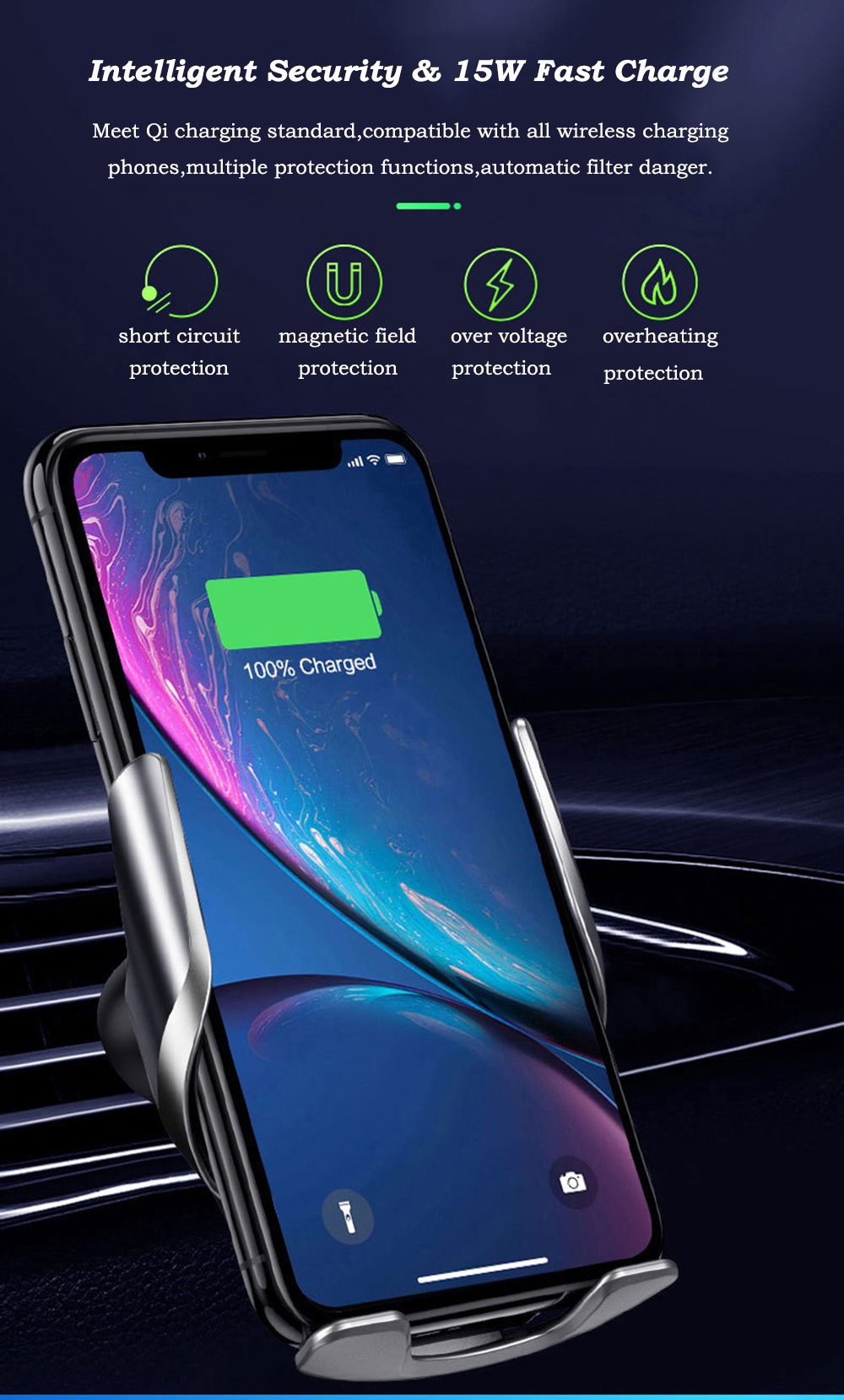 Bakeey 15W Infrared Induction Fast Charging Qi Wireless Charger Bracket For iPhone 8Plus XS 11 Pro Huawei P30 Pro Mate 30 5G Xiaomi Mi9 9Pro 5G