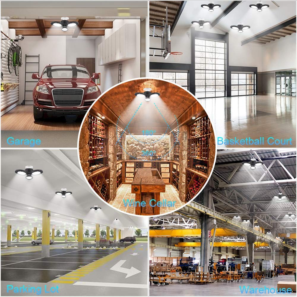 60W E27 2835SMD Radar Sensor LED Garage Light Bulb Foldable Three-Leaves Warehouse Ceiling Lamp AC85-265V