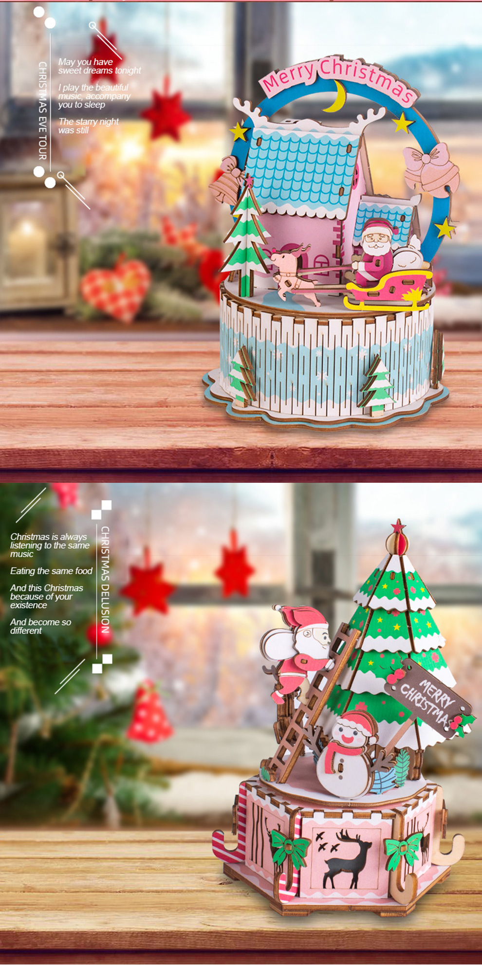 Iiecreate DIY Assembled Christmas Eve and Thanksgiving Christmas Music Box Doll House Model Toy - Photo: 4