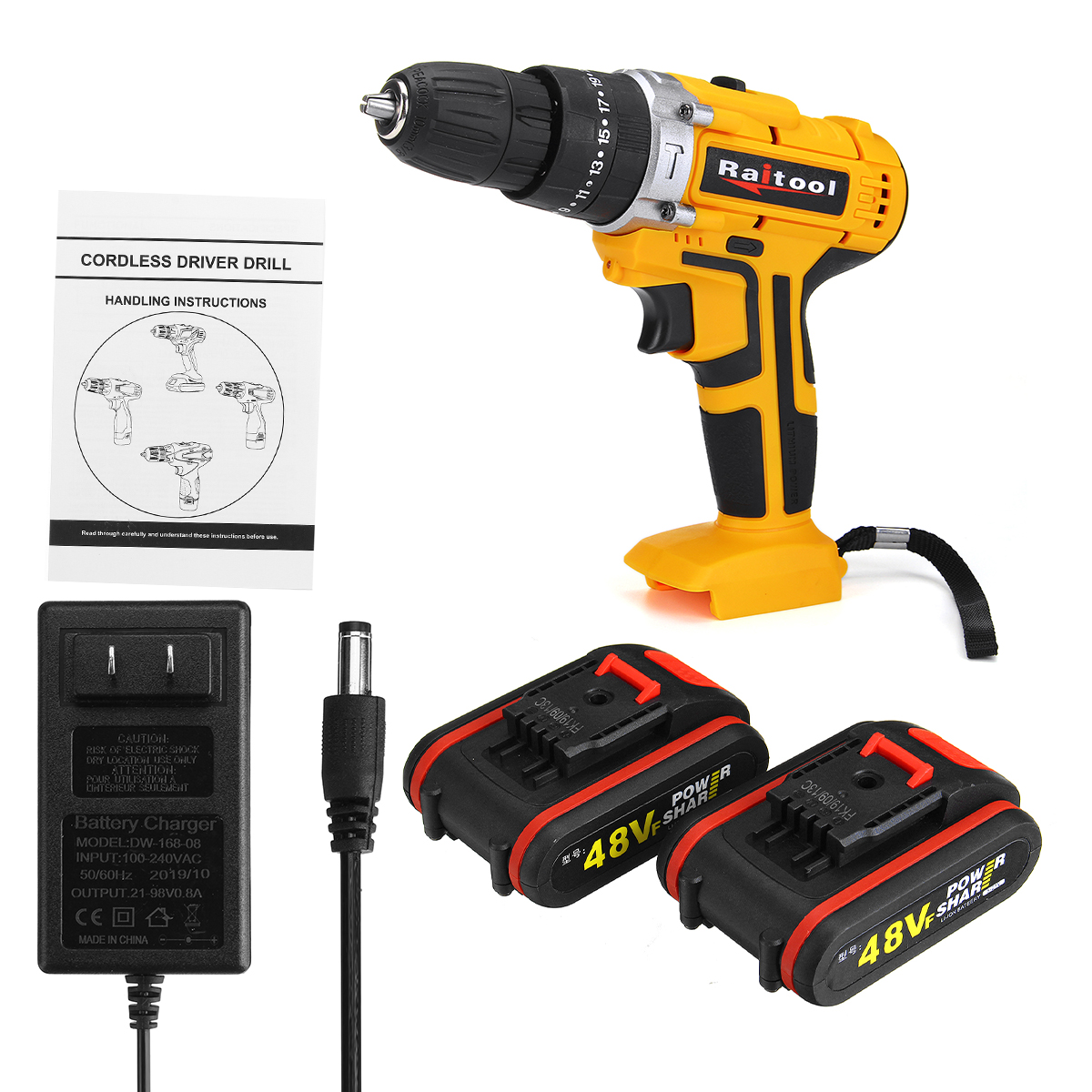 Raitool 48VF Cordless Electric Impact Drill Rechargeable 3/8 inch Drill Screwdriver W/ 1 or 2 Li-ion Battery