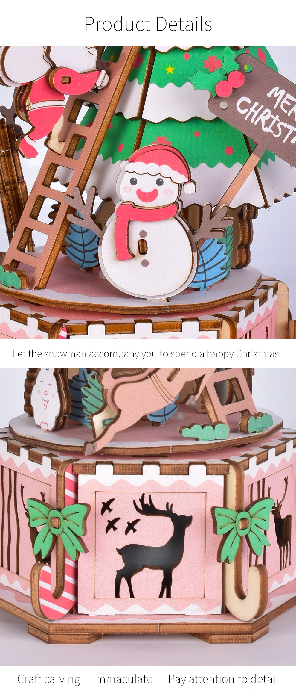 Iiecreate DIY Assembled Christmas Eve and Thanksgiving Christmas Music Box Doll House Model Toy - Photo: 5