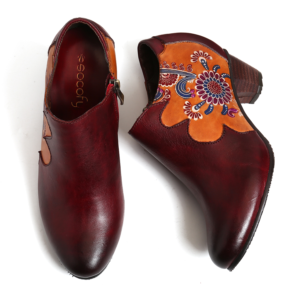 Women Hand Painted Flowers Stitching Leather Zipper Pumps