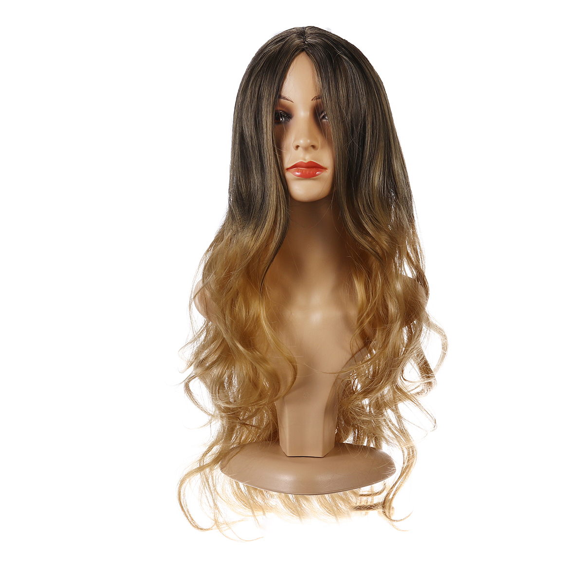 26 '' Donna Ombre Nero Rosso Full Parrucca Ladies Long Curly Wavy W