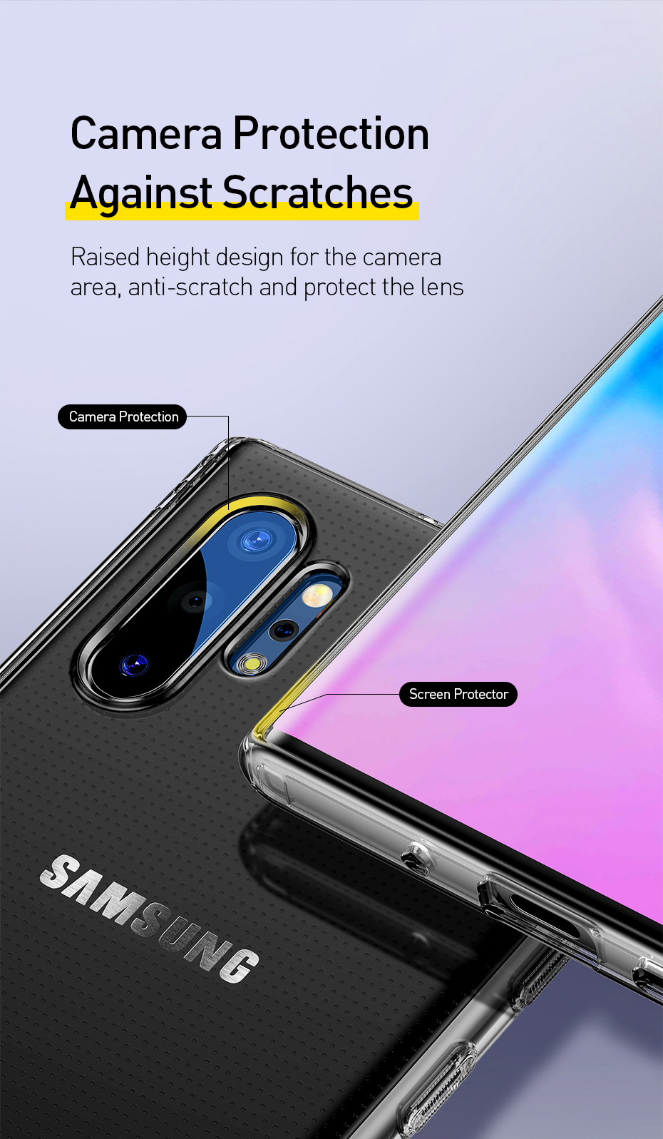 Baseus Clear Transparent Airbag Shockproof Soft TPU Protective Case For Samsung Galaxy Note 10 Plus/Note 10+ 5G