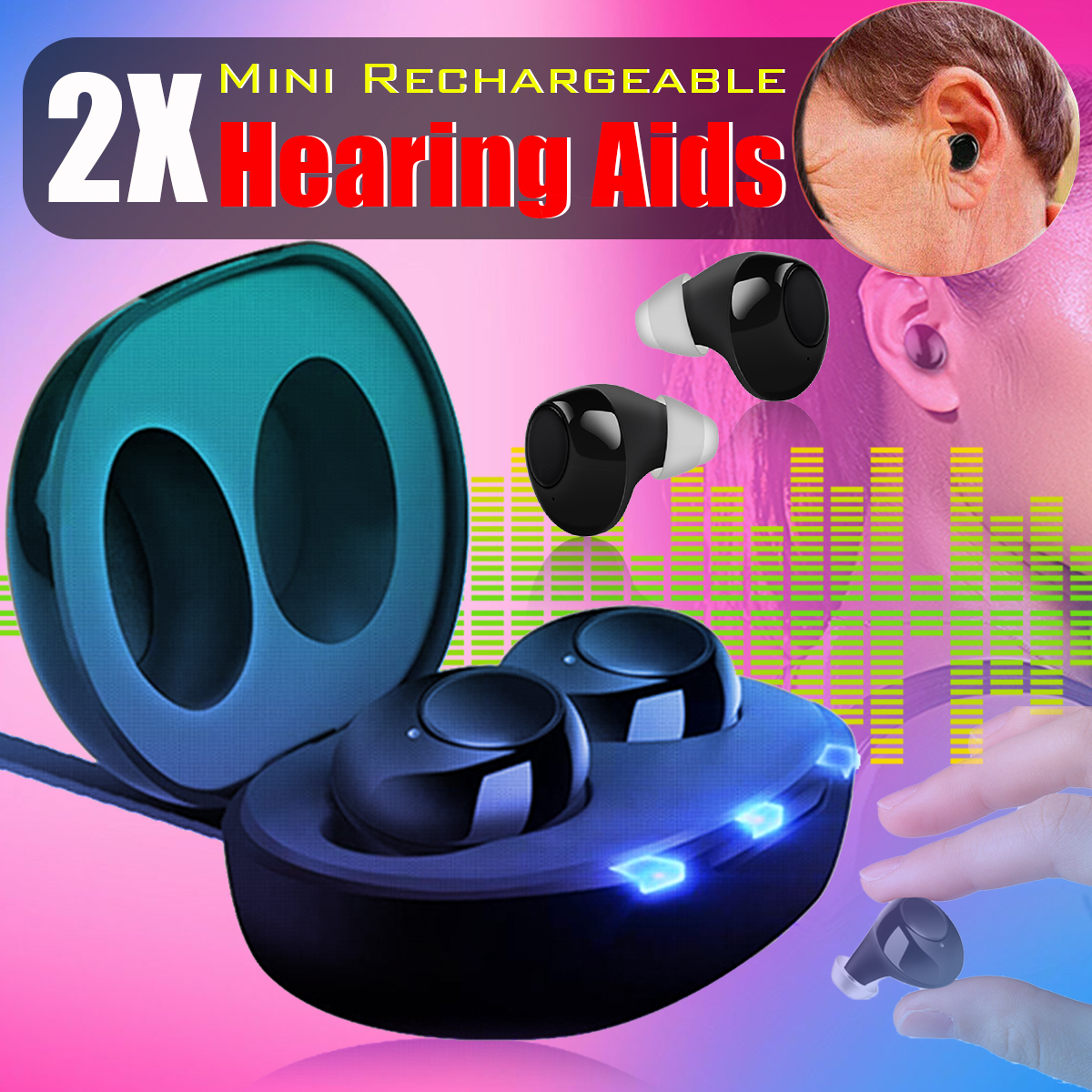 JH-A39 1 Pair Hearing Amplifier Rechargeable Hearing Aids