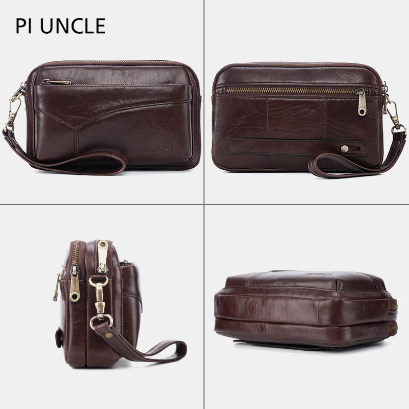 Men Genuine Leather Clutches Bags Small Phone Bag