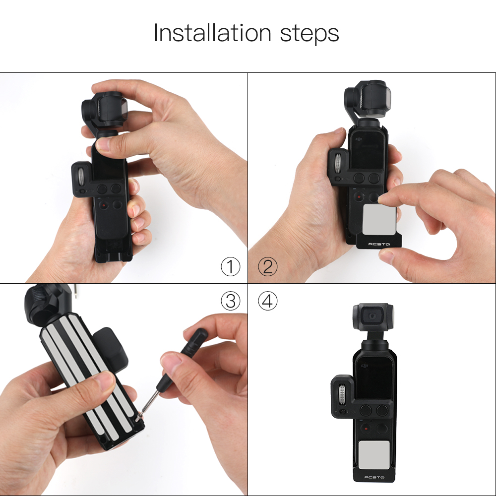 RCSTO Aluminum Alloy Heat Sink Protective Housing Frame Bracket Cage Case For DJI OSMO POCKET with 1/4 Screw Adapter Lanyard - Photo: 7