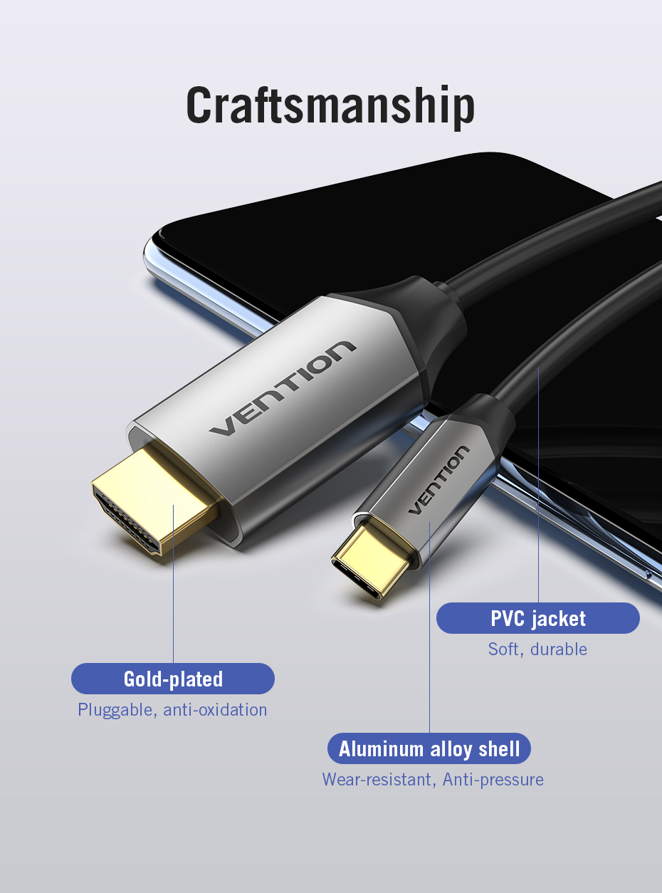 Vention CGSBF Type-C to HDMI Cable for Mac Samsun Samsung Galaxy S10/S9 Huawei Mate 20 P20 Pro HDMI Cable2.0 Type-C Adapter 1m