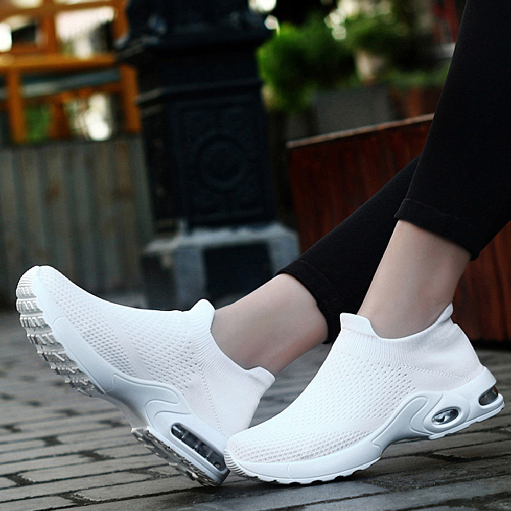 Women Light Mesh Walking Casual Comfy Slip On Sneakers
