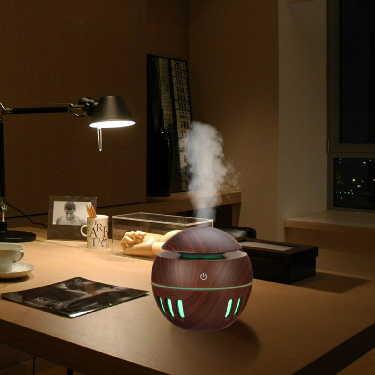 130ML USB Humidifier Air Purifier 7 Color Change LED Night Light Ultrasonic Diffuser Aroma Essential Oil Diffuser Cool Mist Humidifier
