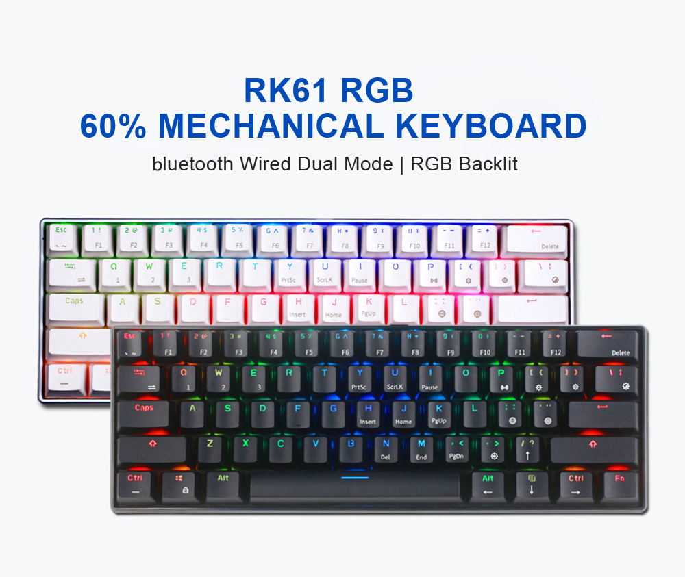 Royal Kludge RK61 bluetooth Wired Dual Mode 60% RGB Mechanical Gaming Keyboard