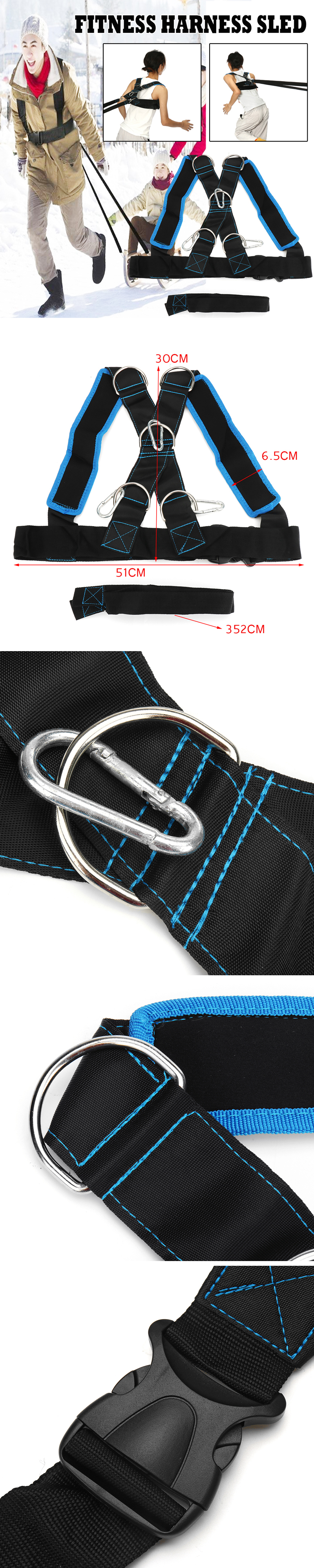 Outdoor Sports Fitness Sled Harness Strength Speed Training Strap Workout Pull Resistance Bands Belt