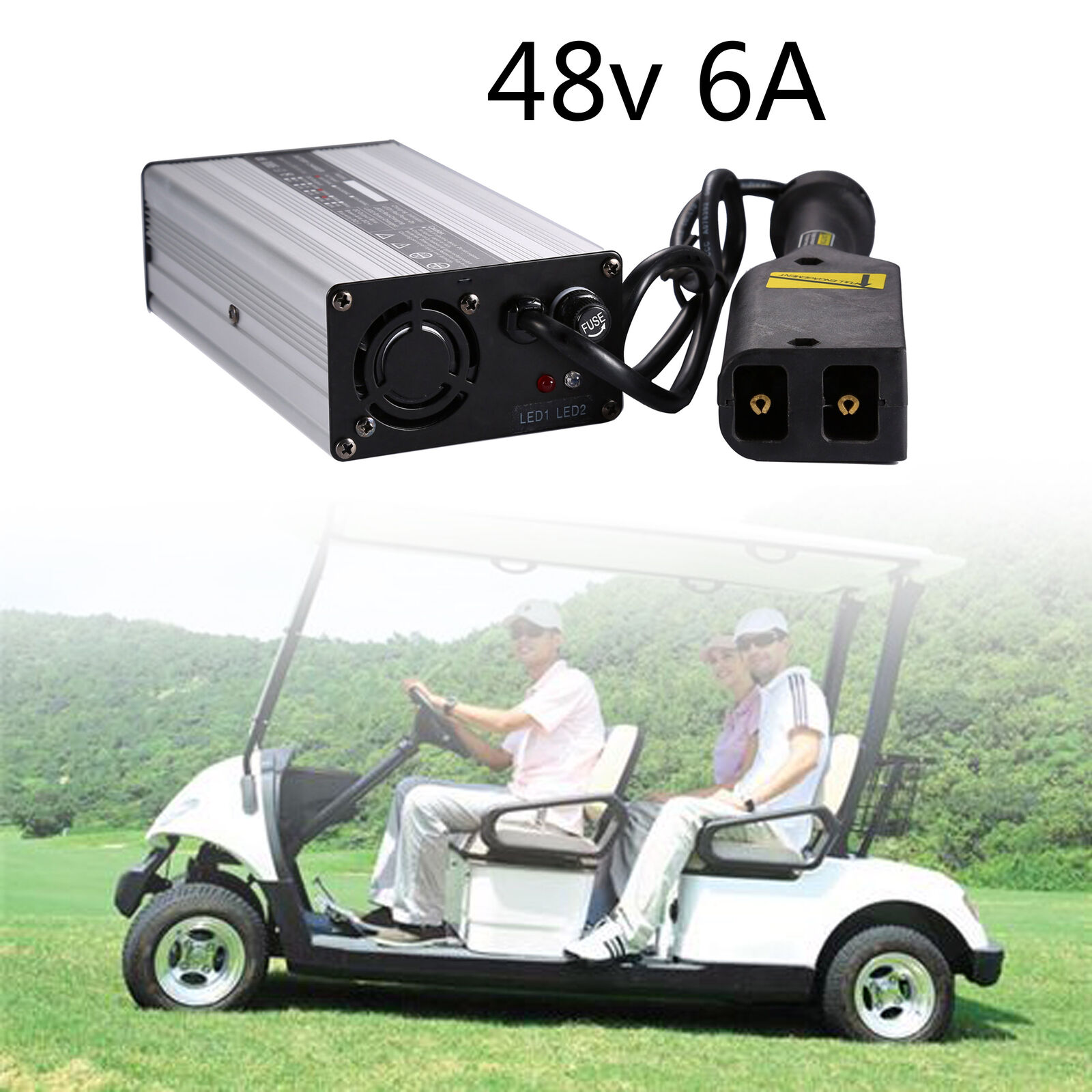 48V 6A US D Style Battery Charger Connector Plug For Golf Cart Club Car