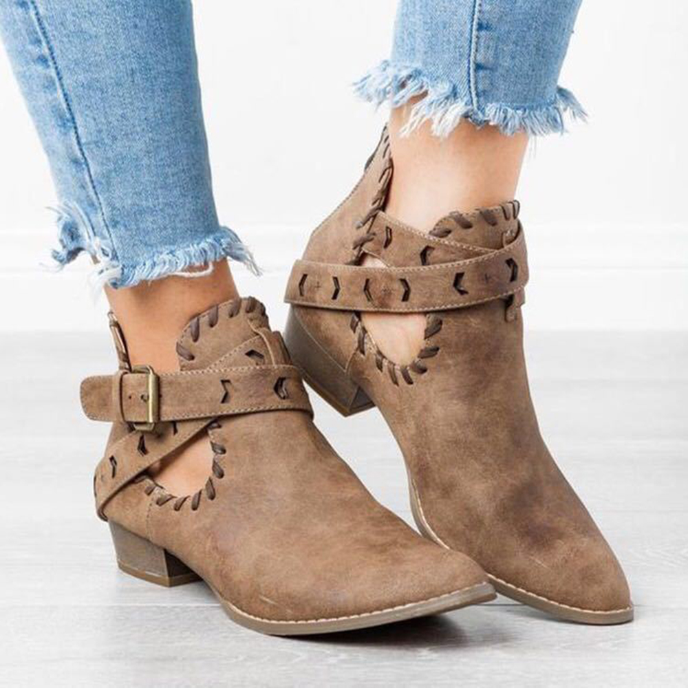 Women Cross Strap Hollow Out Casual Zipper Ankle Boots