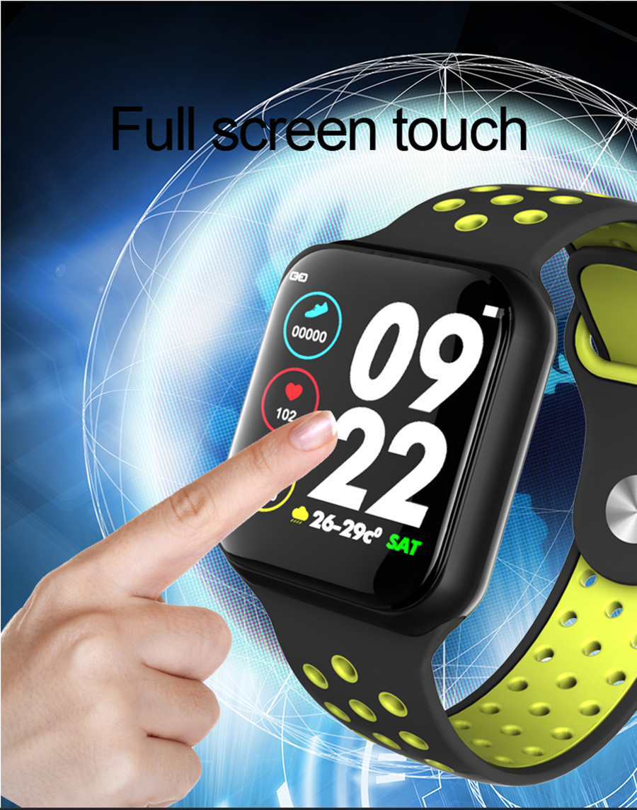 Bakeey F8 Full Touch Real-time Blood Pressure O2 Caller ID Display Multi-sports Mode Anti-lost Smart Watch