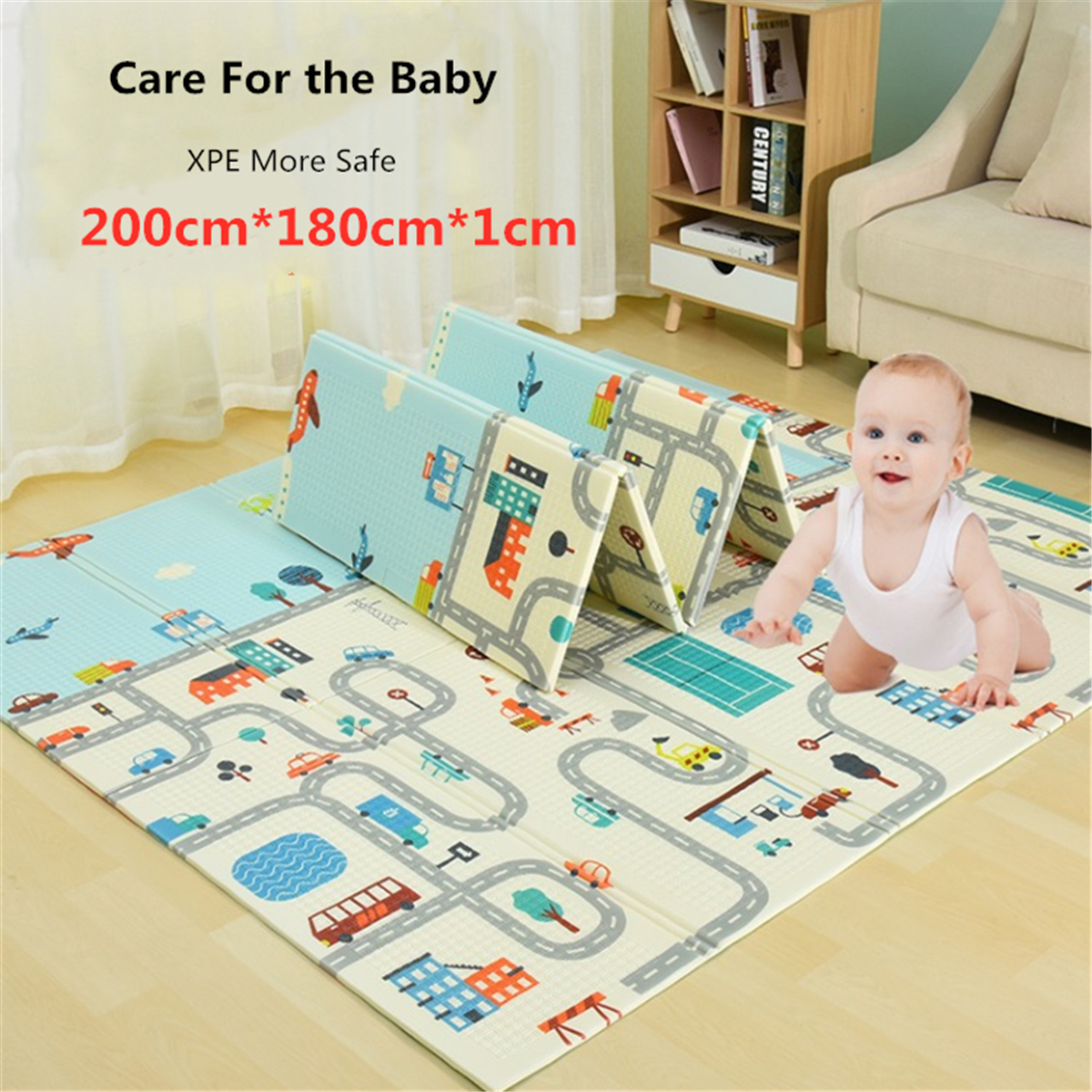 2 x 1.8m Infant Foldable Cartoon Baby Play Mat Babe Carpet Children Crawling