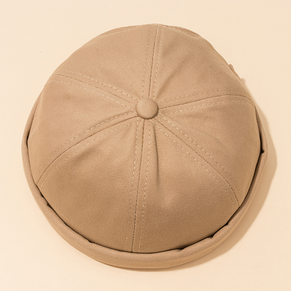 Mens Adjustable Breathable Solid French Brimless Hat