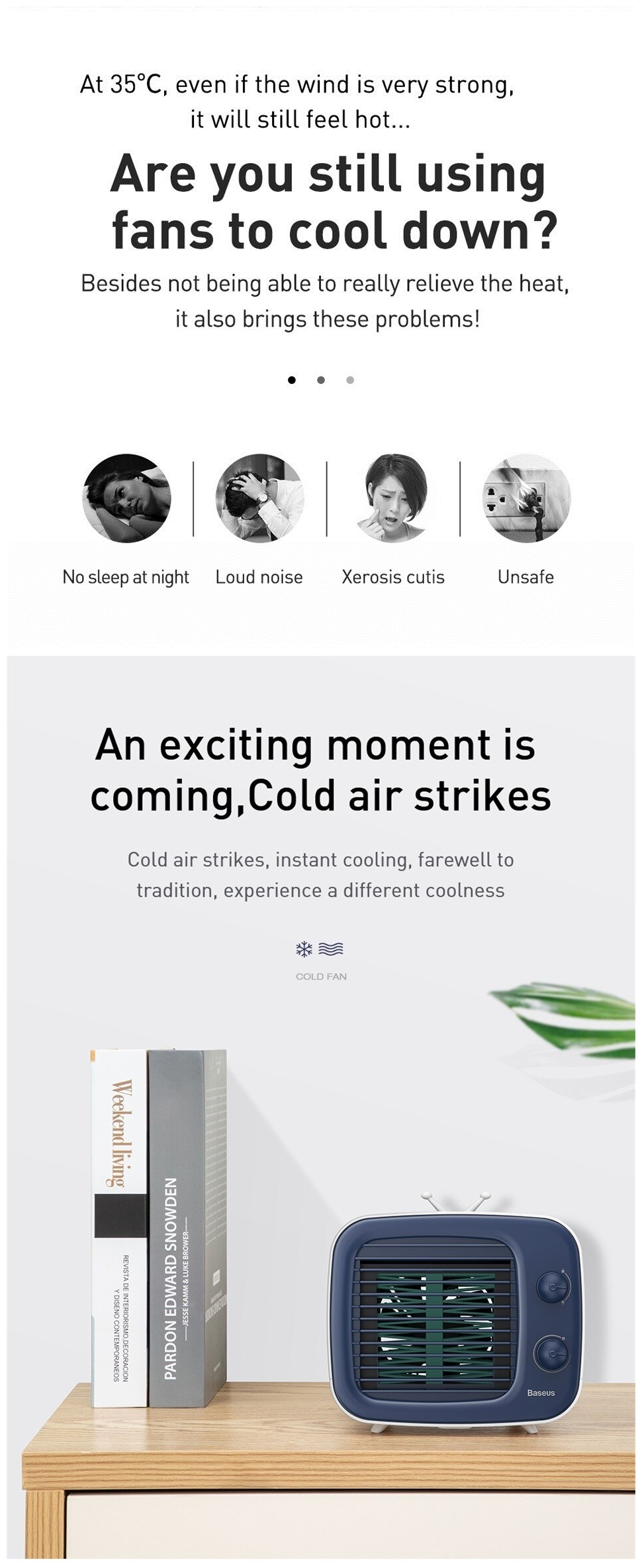 Baseus USB Air Cooling Fan Mini Portable Refrigerator Air Humidifier Purifier 3 Speed Air Conditioning Desk Fan for Home office Bedroom
