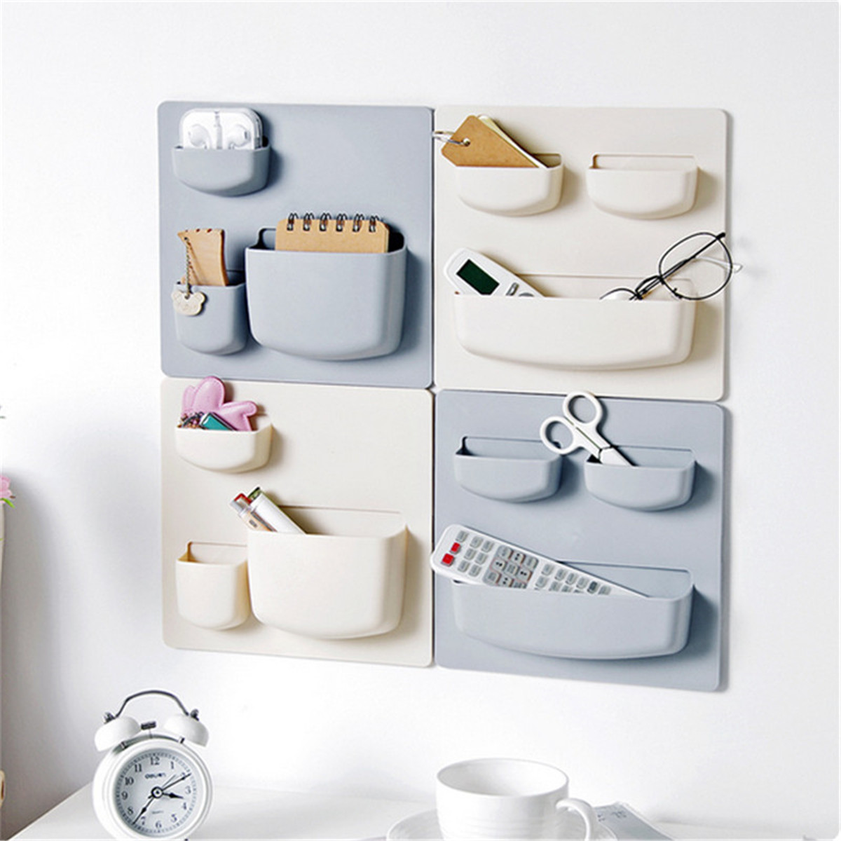 Kitchen Wall-Mounted Storage Rack Sundries Storage Holder Adhesive Stickers Fixed Bathroom Organizer