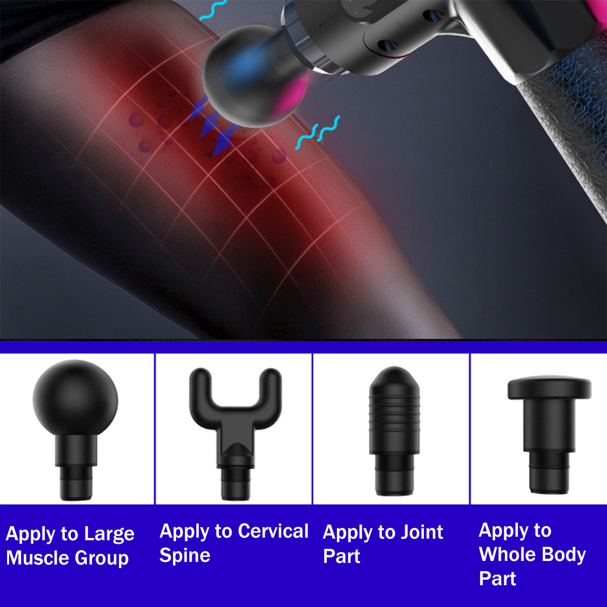 2500mAh Electric Massager Muscle Massage Therapy Vibration G un Deep Tissue Display Cordless Percussion Massager Percussion Massage Device
