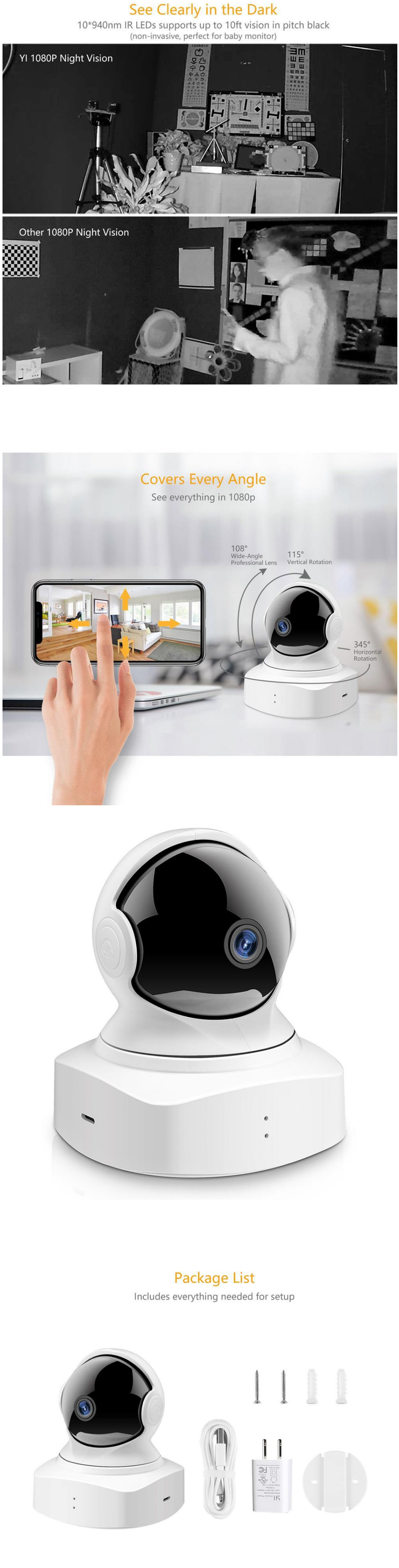 Xiaoyi Dome Camera 1080P Wireless IP Camera PTZ Control H.264 Infrared Night Vision Motion-Detection Home Wifi Camera Baby Monitors