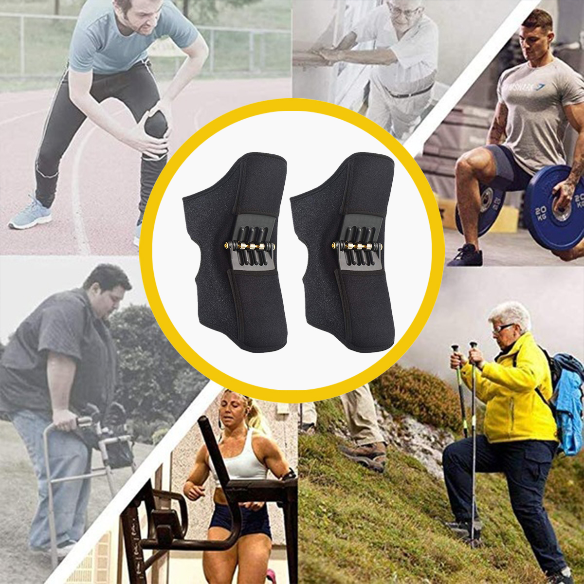 [Upgraded Type] 1 Pair Power Knee Stabilizer Pad Rebound Spring Force Knee Support Brace
