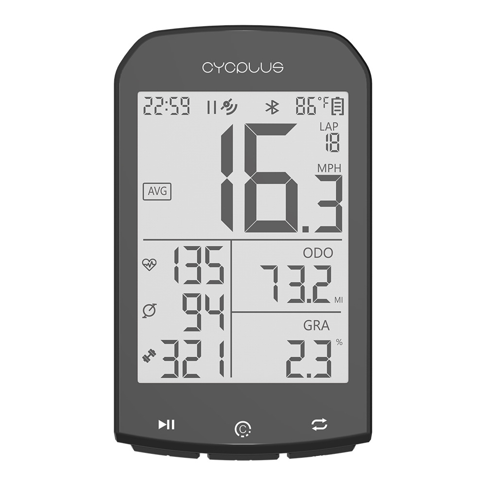 CYCPLUS M1 2.9 Inch LCD Large Screen Bike Computer With GPS 35H Running Time 1100mAh USB Rechargeable IPX5 Waterproof Bike Speed Sensor APP Quick Sync