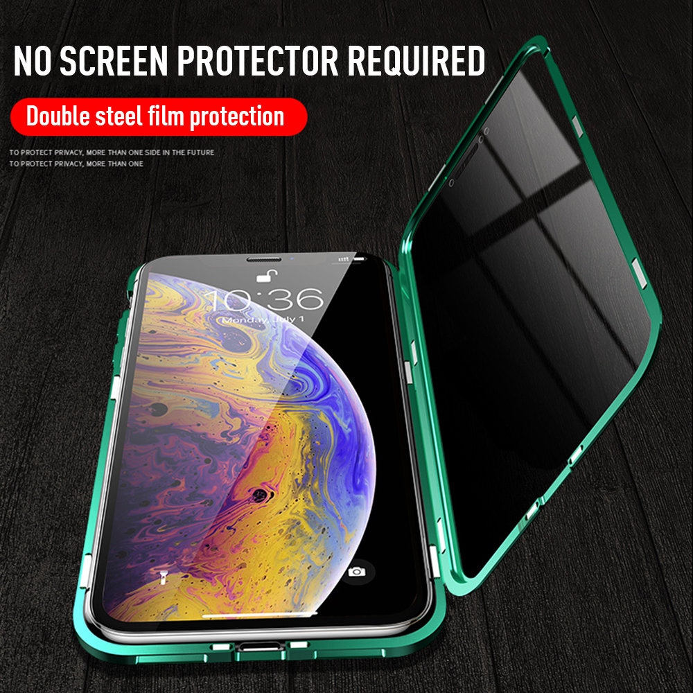 Bakeey Anti-peeping Magnetic Adsorption Metal Double-sided Tempered Glass Protective Case For iPhone X/XS/XR/XS Max/7/8/7 Plus/8 Plus
