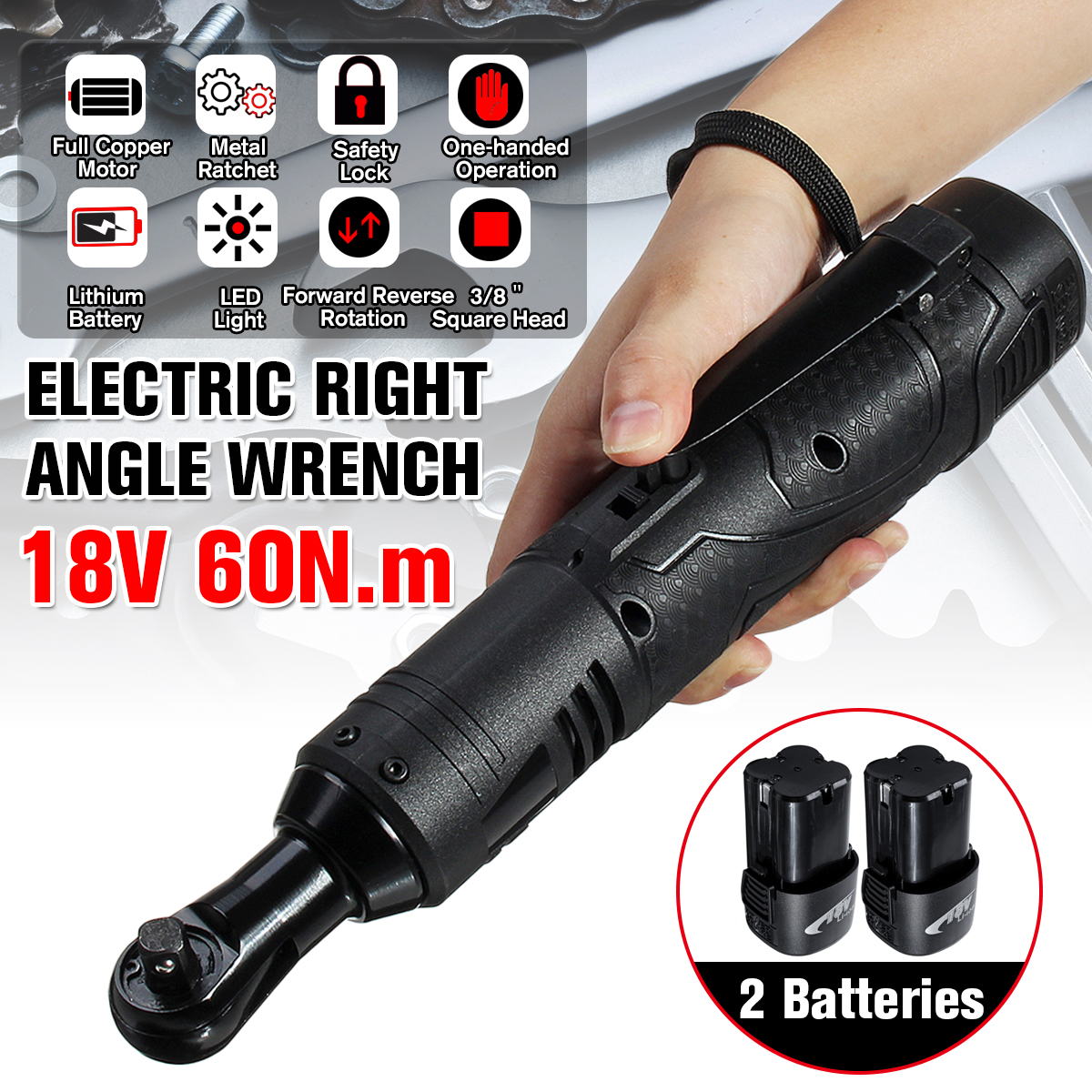 18V 60N.m Electric Right Angle Wrench 260RPM 3/8 Inch Cordless Ratchet Wrench W/ 2Pcs Battery