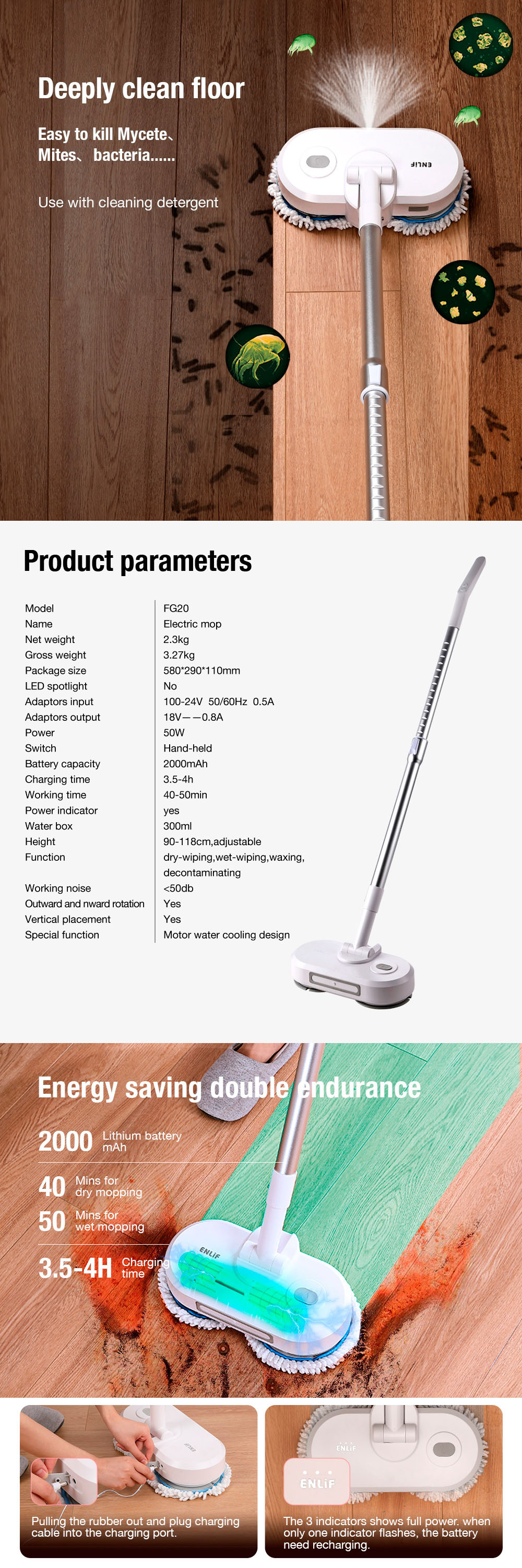 ENLiF FG20 Electric Wireless Spin Mop Disinfection Vacuum Cleaner Cordless Rechargeable Lightweight Cleaner Electronic Floor Sweeper and Mop Adjustable Floor Waxing