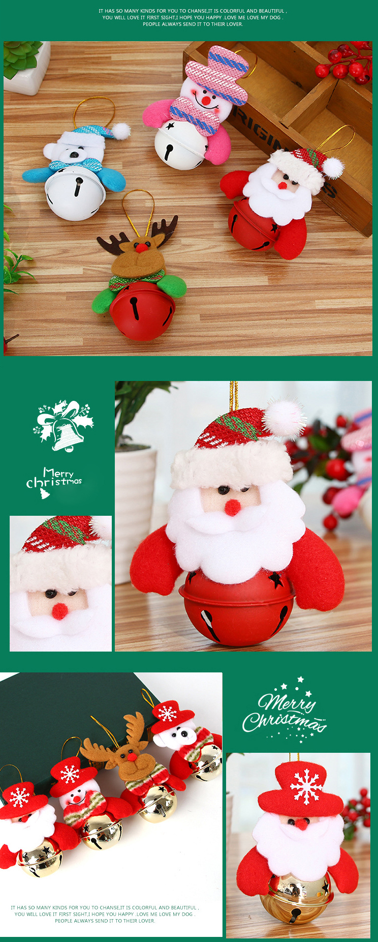 Loskii Christmas Decoration Bell Old Man Christmas Tree Decoration Gift Ornaments Doll Snowman Doll Organizer Bell Pendant