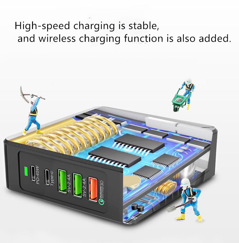 Bakeey 75W QC3.0 PD Multi-Port Fast Charging USB Wireless Charger For iPhone 8 Plus XS 11 Pro Huawei P30 Pro Mate 30 Xiaomi Mi9 9Pro S10+