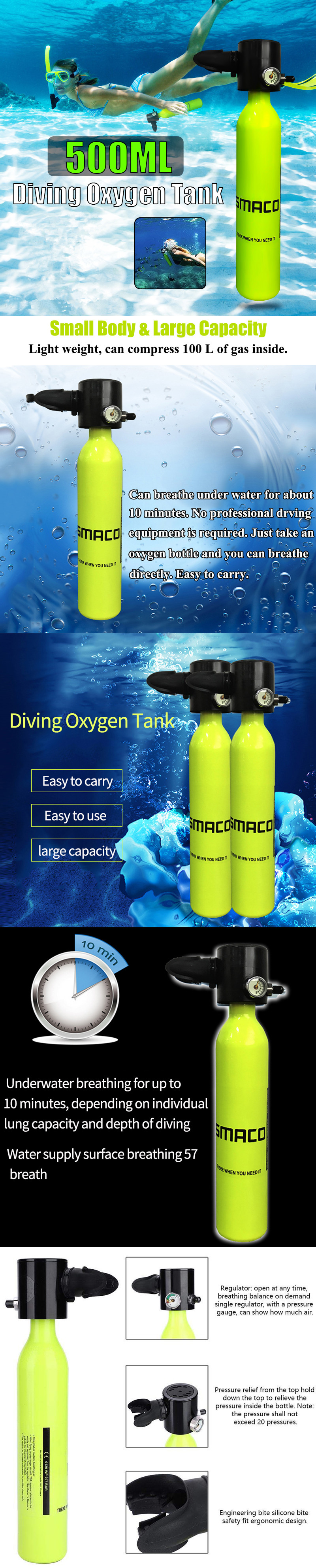 500ML Mini Air Tank Cylinder Underwater Oxygen Tank Breathing Respirator Swimming Diving Set Equipment