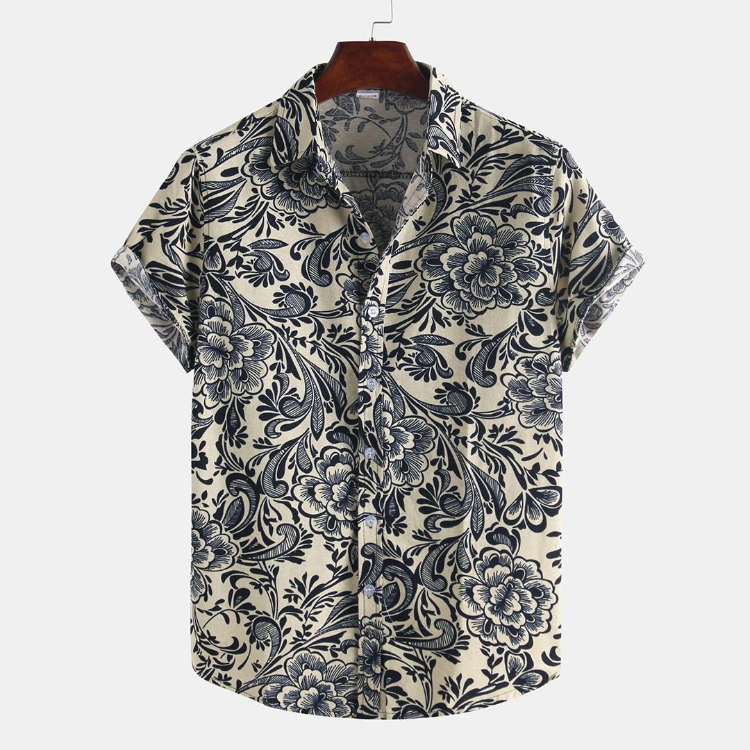 Men Printed Cotton Summer Casual Turn Down Collar Short