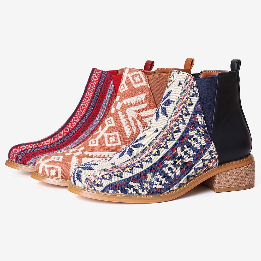 Women Folkways Printing Stitching Ankle Boots